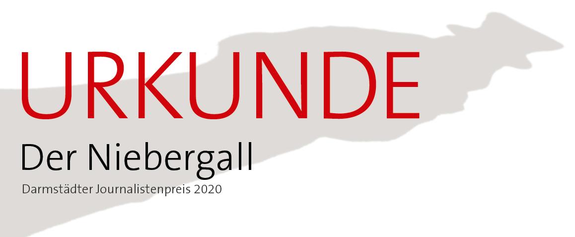 Der Niebergall - Darmstädter Journalistenpreis - Die Urkunde